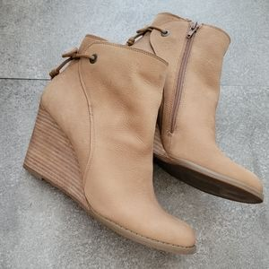 Lucky Brand Yamina Leather Wedge Booties Tan 9W